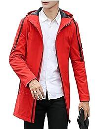 maweisong メンズロングスリーブ軽量中長フードトレンチジャケットコート
