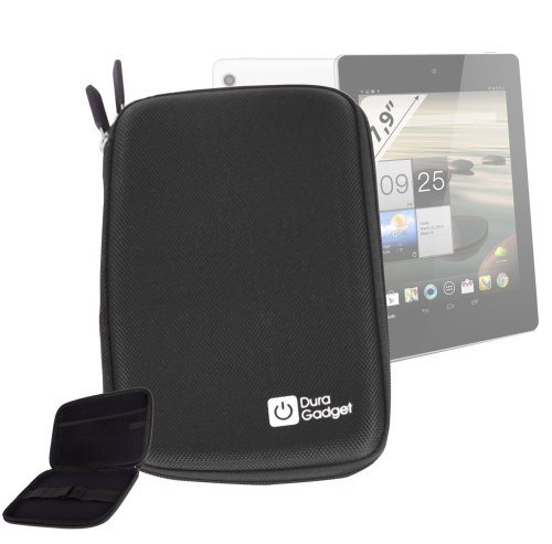 DURAGADGETブラックリジッド保護Zip Armouredケースwithソフトインナー裏地& Nettedポケットfor Acer Iconia a1–810-l4167.9-inch 16GBタブレット