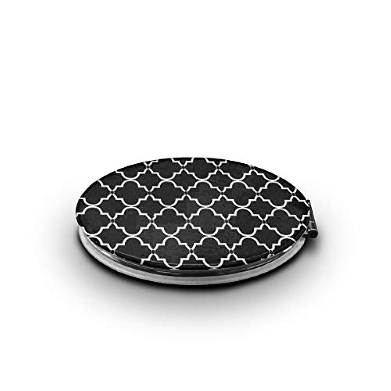 携帯ミラー 幾何学の柄ミニ化粧鏡 化粧鏡 3倍拡大鏡+等倍鏡 両面化粧鏡 楕円形 携帯型 折り畳み式 コンパクト鏡 外出に 持ち運び便利 超軽量 おしゃれ 9.0X6.6CM