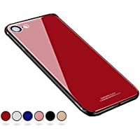 【SUMart】iPhone8 ケース/iPhone7 ケース TPU 強化ガラスケース かわいい おしゃれ 耐衝撃 薄型 ハードケース ストラップホール付き (iPhone7/8 4.7インチ, レッド)