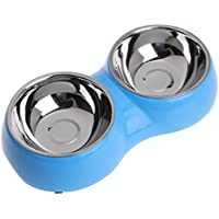 (Blue) - Xumeili Pet Feeder Double Bowl Dog Puppy Cat Water Food Stainless Steel Feeding Non Slip (Blue)
