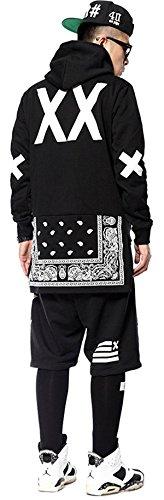 (ピゾフ)Pizoff メンズ パーカー ブラック 裏毛 裾非対称デザイン ペイズリー柄 モード系 ファッション ヒップホップ トップス 贈り物Y0433-black-S