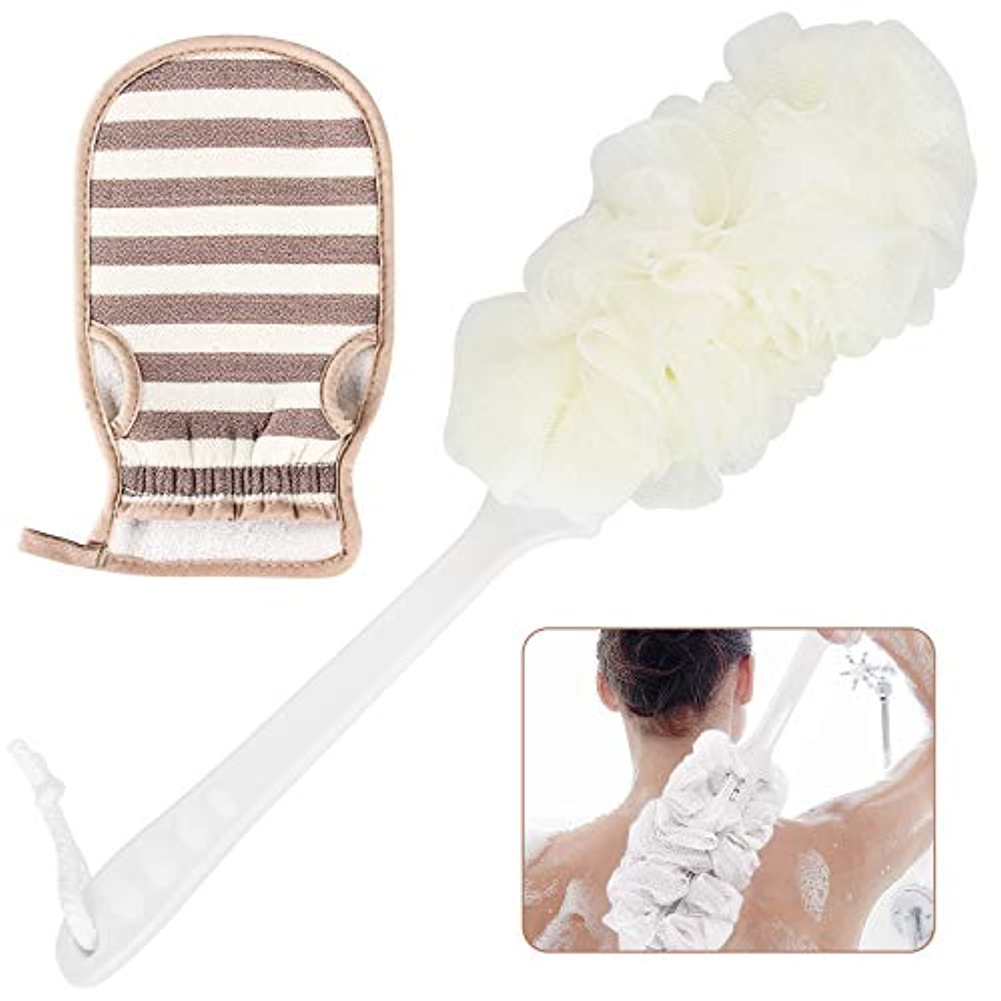 ボディブラシ 体洗いブラシ ボディタオル 背中 ブラシ ニキビ 角質とり お風呂用 シャワーブラシ 柔らかい 泡立ち あかすり 長柄 マッサージブラシ カビ防止 美肌効果 バスグッズ 2セット