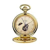 懐中時計 チェーン付きメンズレトロ機械式懐中時計ローマ数字ケース 腕時計 (Color : Gold shell gold surface)