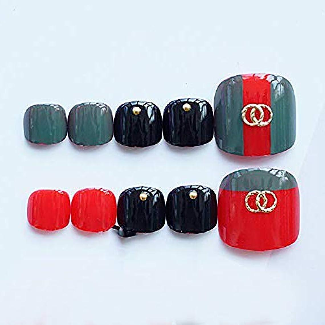 歌ストレンジャー綺麗な24枚爪 シンプル 両面接着テープ付き ダークグリーン レトロ ビーチ ゴールドサークル