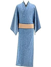デニム着物 メンズ シャンブレー 木綿着物 単衣 綿100% No.12 ブルー