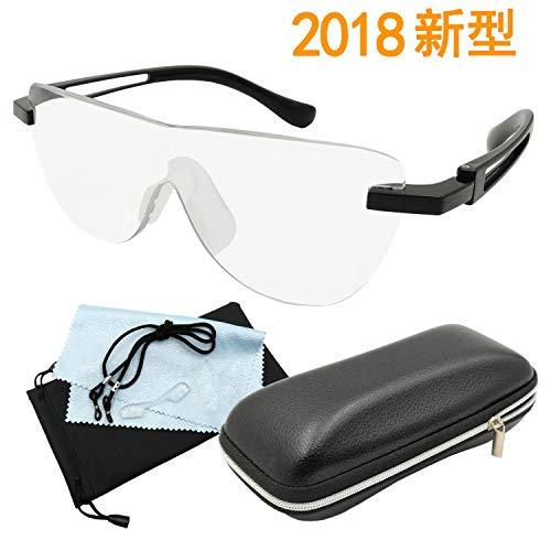 GOKEI_CO 拡大鏡 めがね ルーペメガネ 1.6倍 えんきん 鏡 メガネ型拡大鏡 ルーペ メガネ 6点セット 新型 「1年間の安心保証] パンダ型 ブラック