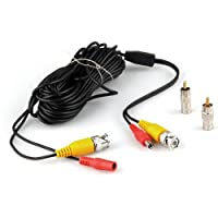 SODIAL(R)10メートル33フィートセキュリティビデオ/電源ケーブルBNC+ RCAプラグの組み合わせケーブル CCTVカメラ用品
