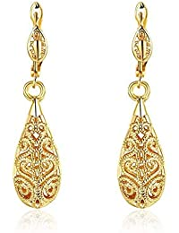 Xiaodou Filigree Teardrop Dangle Earrings Vintage Lever-Back Earrings 18K Gold Plated Fashion Jewelry (Yellow)