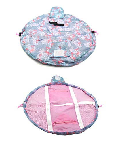 Duwee Multifunction Travel Makeup Bag Waterproof Cosmetic Organizer Drawstring Makeup Storage Bag Women Girls Portable Toiletry Bags (Bluefl B)