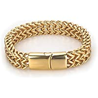 New Fashion Kingdom 18K Gold Plated Cuban Link Bracelet Hip Hop Bracelet Stainless Steel Bracelet for Men