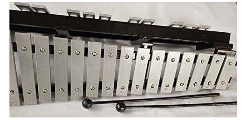 Enhong 折り畳み 卓上 鉄琴 30音 マレット2本 収納ケース付き (シルバー)