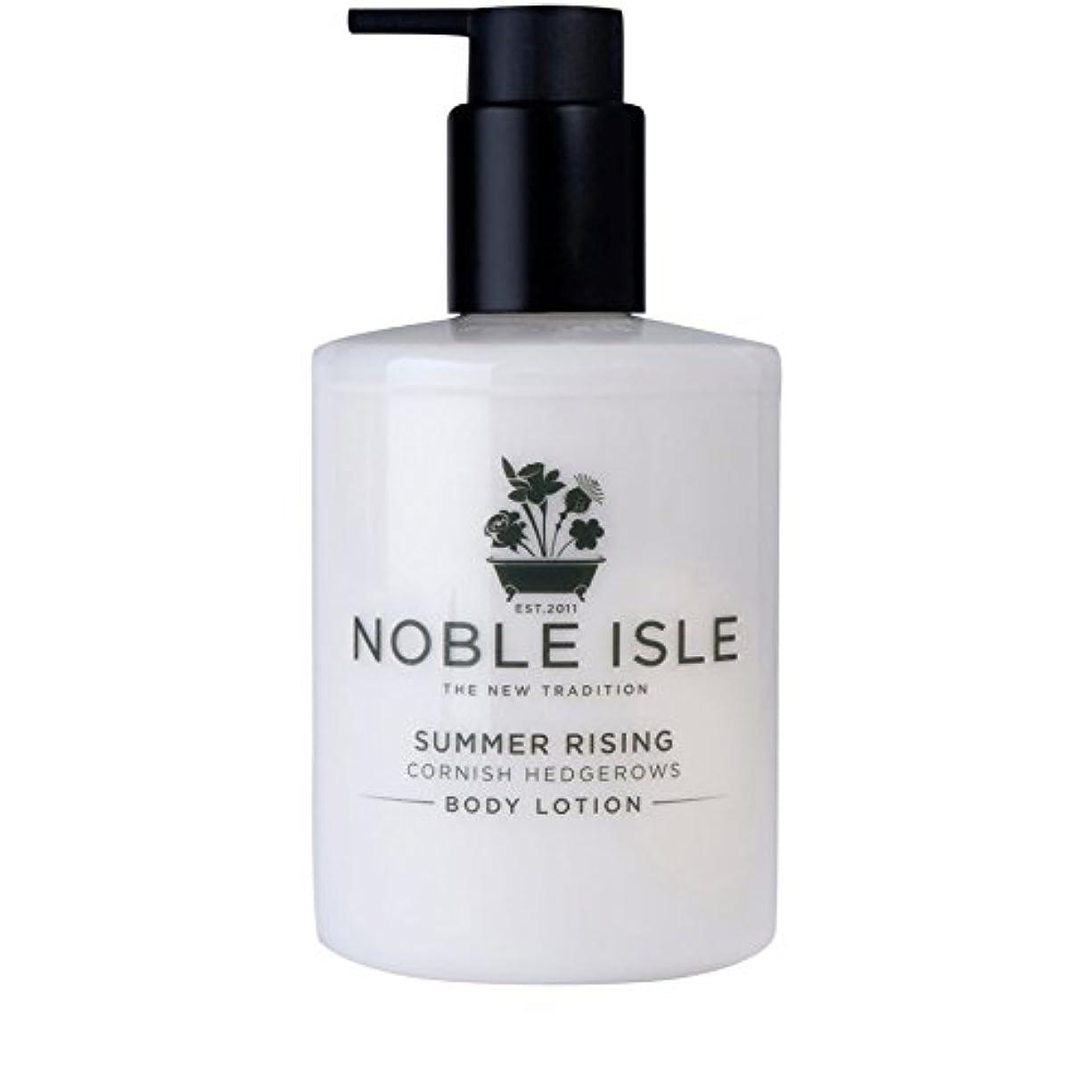 囲まれた少しつばコーニッシュ生け垣ボディローション250ミリリットルを上昇高貴な島の夏 x4 - Noble Isle Summer Rising Cornish Hedgerows Body Lotion 250ml (Pack of...