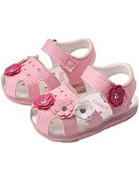Sunsee幼児用新しい花女の子サンダルLighted soft-soledプリンセス靴ホワイト/ 19cess靴