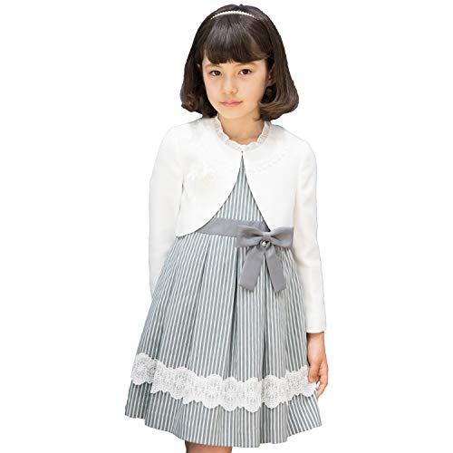 CHOPIN(ショパン) 8791-9302 ストライプレースアンサンブル 115 120 130cm 入学式 女の子 (120, グレー)
