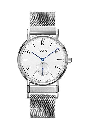 FEICEビジネスカジュアル メンズ 自動機械式 腕時計 人工サファイアミラー 時計#FM201 (シルバーステンレスバンド)