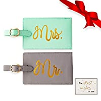 Mr and Mrs Luggage Tags, Exquisite Honeymoon Weeding Bridal Shower Gift Set, 2 Pcs Travel Bag Tags for Newlyweds Hubby & Wifey