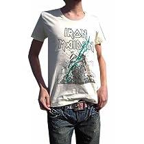 こいつは革命です BUY OR DIE ハードロック古着とは一線を画す 現代版スタイリッシュ メイデンUネックTシャツ IRON MAIDEN アイアン・メイデン PAINT MAIDEN (M, LIGHTYELLOW)