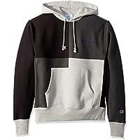 Champion LIFE Mens S3370 Reverse Weave Color Block Hood Hooded Sweatshirt - Gray