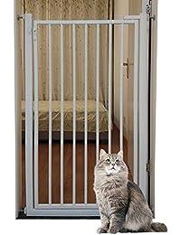 赤ちゃんのペット用のホワイトメタルゲート、キッチンの出入り口用の猫の犬のゲートを通る非常に広いウォーク、高さ80cm、幅120cm (Size : 120cm width)