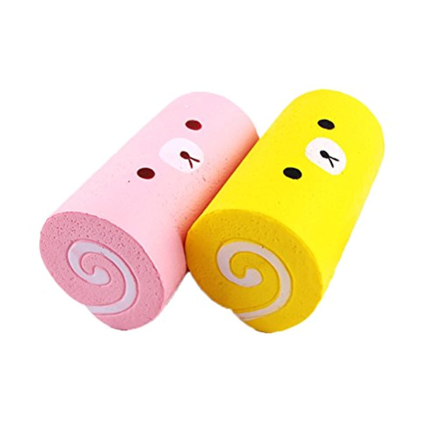ounona 2個Squeeze Toy Swiss Roll Shaped応力RelieverソフトSlow RisingクリームSCENTE Cute Toy 15 x 8.5 CM (ランダムカラー)