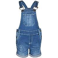 Kids Girls Dungaree Short Light Blue Denim Ripped Stretch Jeans Overall Jumpsuit