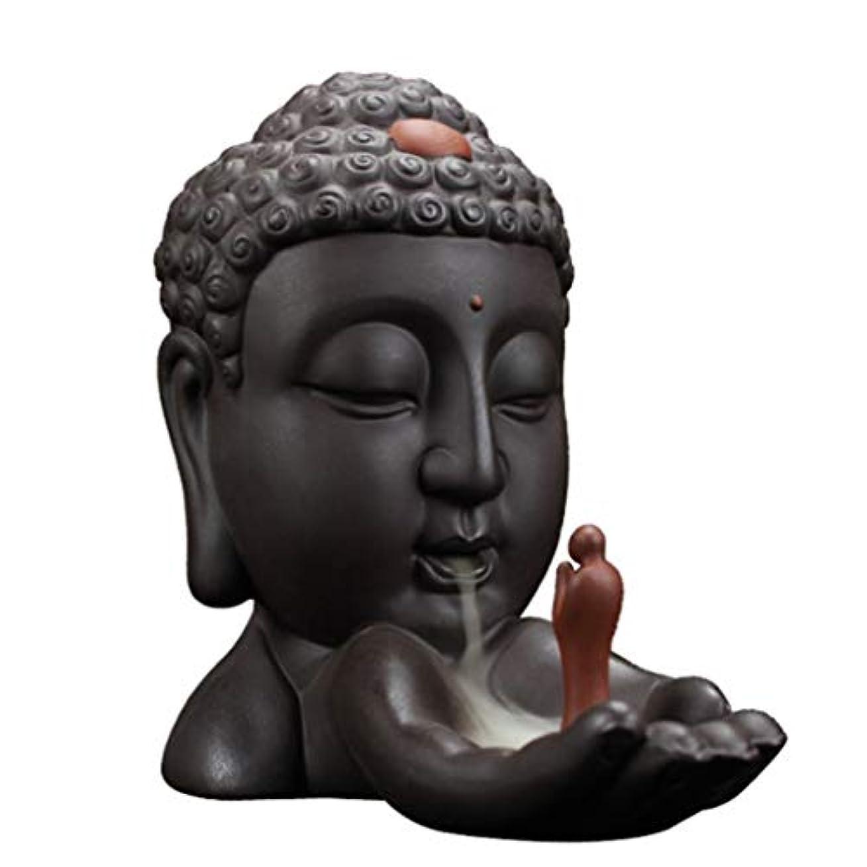 クランシー聞きます小道ホームアロマバーナー 逆流香バーナークリエイティブホームデコレーションセラミック仏香ホルダー仏教香炉オフィスでの使用リビングルーム 芳香器アロマバーナー (Color : Brown)
