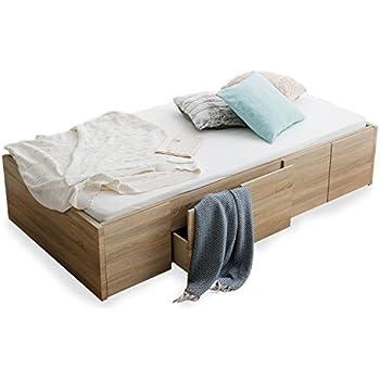 LOWYA ベッド ベッドフレーム シングル すのこ 収納 PVC オークナチュラル おしゃれ
