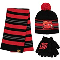 Disney Boys Cars Lightning McQueen Scarf, Hat and Gloves Set for Toddler and Little Boys Cold Weather Hat Age 2-7