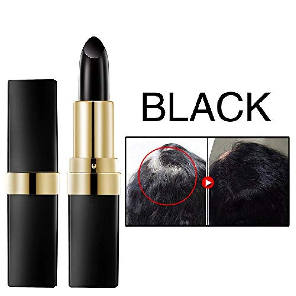 ことわざ信念平らなワンタイムヘア染料インスタントグレールートカバレッジヘアカラー変更クリームスティック一時的なカバーアップ白い髪の色の染料 3.8 g (ブラック)