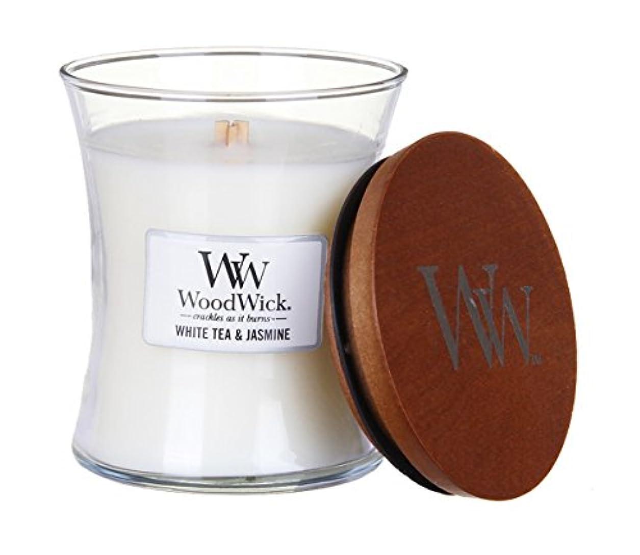路面電車活気づく寛解ホワイトTea Jasmine – WoodWick 10oz Medium Jar Candle Burns 100時間