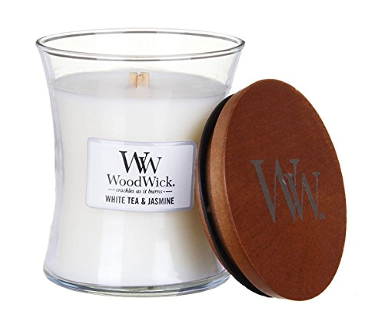 スキム数値二ホワイトTea Jasmine – WoodWick 10oz Medium Jar Candle Burns 100時間