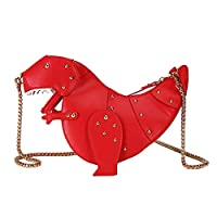 女性メッセンジャーバッグ恐竜の形PUレザーリベットチェーンクロスボディショルダーバッグガールミニクラッチバッグ,Red