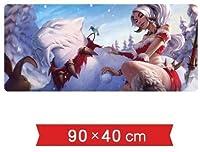 マウスパッド マウスパッドテーブルマットデスクノートPCペリフェラルのLOLゲームのキャラクターNidaleeザ・野獣ハントレス雪パック氷祭り限定スキンパターンの特大ロックノンスリップゲーミングマウスパッド