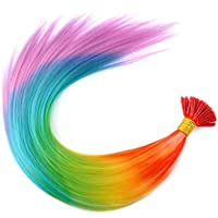 vongcoki 20'' Rainbow Colorful Synthetic Feather Grizzly I-Tip Hair Extensions Pack of 100 Strands