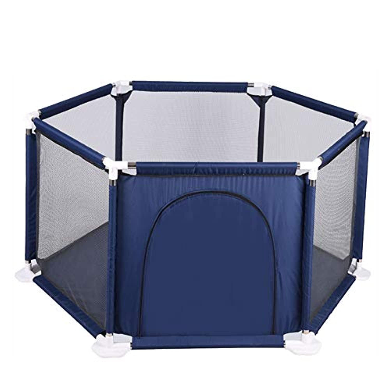 ベビープレイペン幼児オックスフォード布フェンス6パネルキッズベビーパリーゲームセンター (色 : 青)