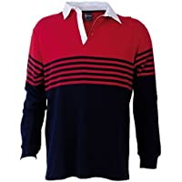 Identitee Men's Striped Rugby TOP 100% Cotton Long Sleeve Polo Shirt Pullover