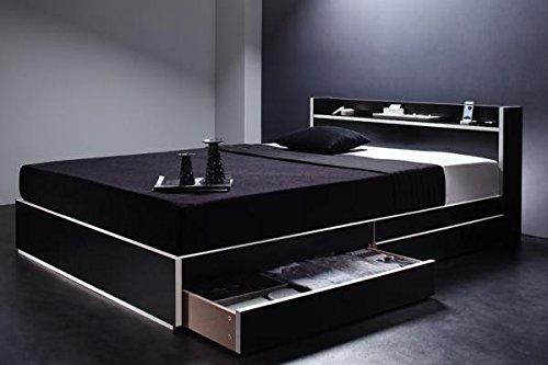 【2点セット】コンセント付・収納ベッド (ダブル/黒×ホワイトエッジ) ポケットコイルマットレス:レギュラー付き ※マットレスの色はブラック