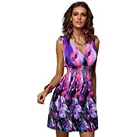 Jinhuanshow Women's Summer Sleeveless Casual Low-Cut V-Neck Prints Dresses