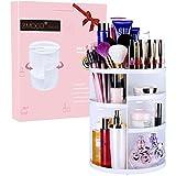 化粧品 収納 EMOCCI コスメ ボックス メイクケース メイク収納ボックス 360度回転式 大容量 可調節 水洗い タワー型 (ホワイト)