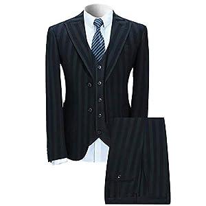 WEEN CHARM(ウィンチャーム)スーツ メンズ スリム スリーピースセットアップ カジュアル ビジネス グリーンストライプ 4xl
