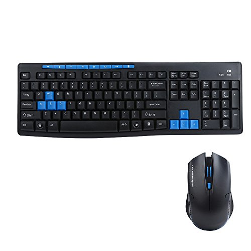 ゲーミングキーボード マウスセット ワイヤレスキーボードマウスセット 多機能 ゲーミングキーボードWireless Keyboard and Mouse Set 2.4G(黒&青)