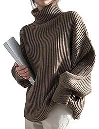 INNIFER ニット レディース ハイネック リブ トップス プルオーバー セーター オーバーサイズ ゆったり 長袖 秋冬 無地