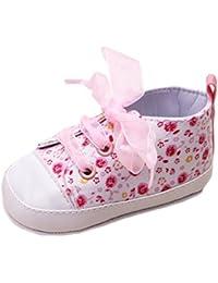 (ビグッド)Bigood 子ども 靴 女の子 ベビーシューズ 花柄 スニーカー 赤ちゃんシューズ リボン靴ひも トレーニング 出産祝い 室内履き 13cm ピンク