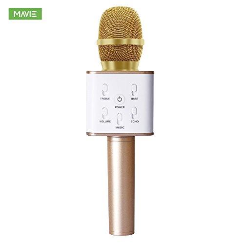 MAVIE Q7  스마호카라오케마이쿠  대용량2600mAh 고음질 카라오케 기기 wireless KTV카라오케 마이크 혼자서 카라오케 컴퓨터 Android와 iPhone에 대응 포터블 골드-