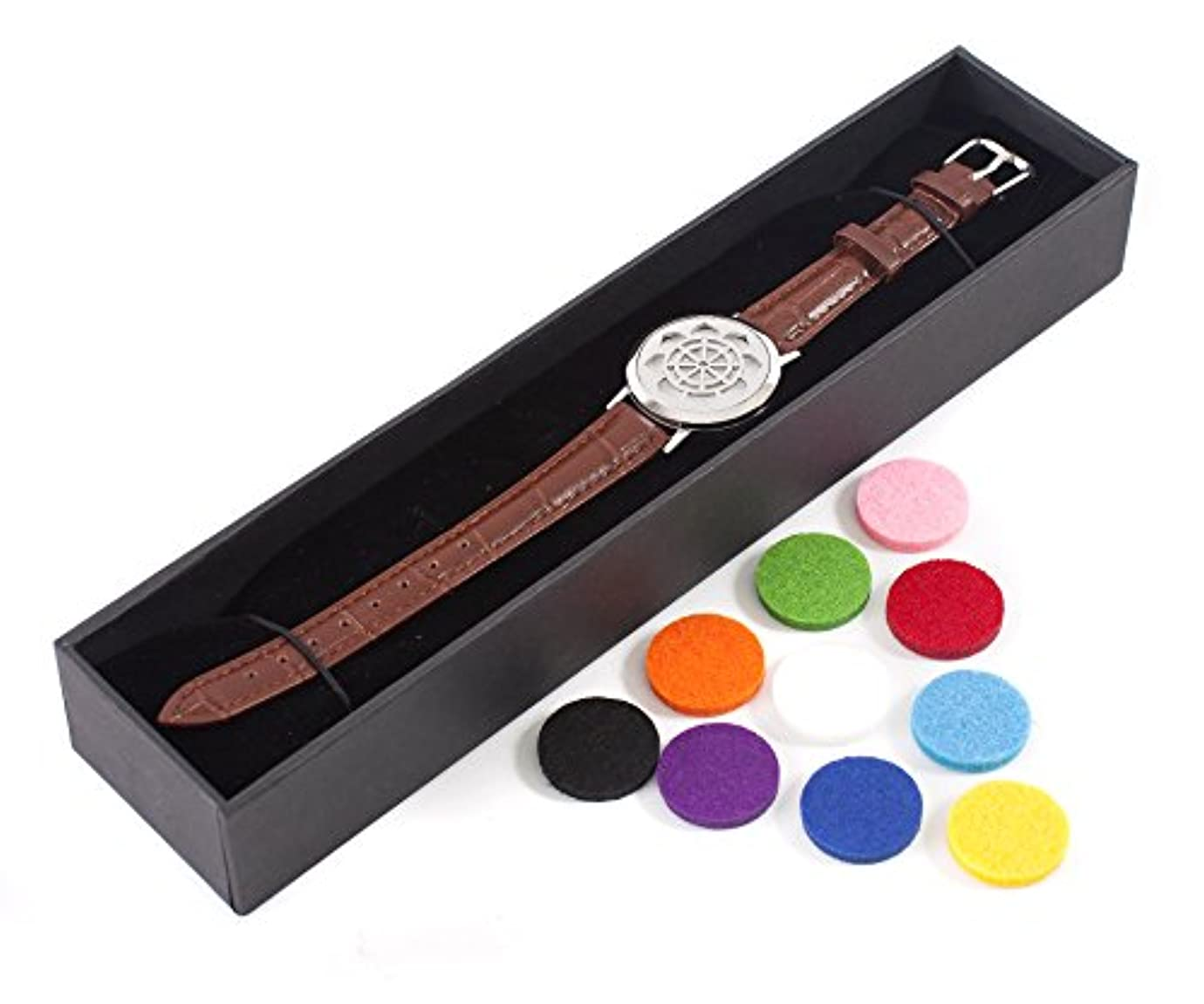 擁するトークジョガーMystic Moments | Dharma Wheel | Aromatherapy Oil Diffuser Bracelet with Adjustable Brown Leather Strap