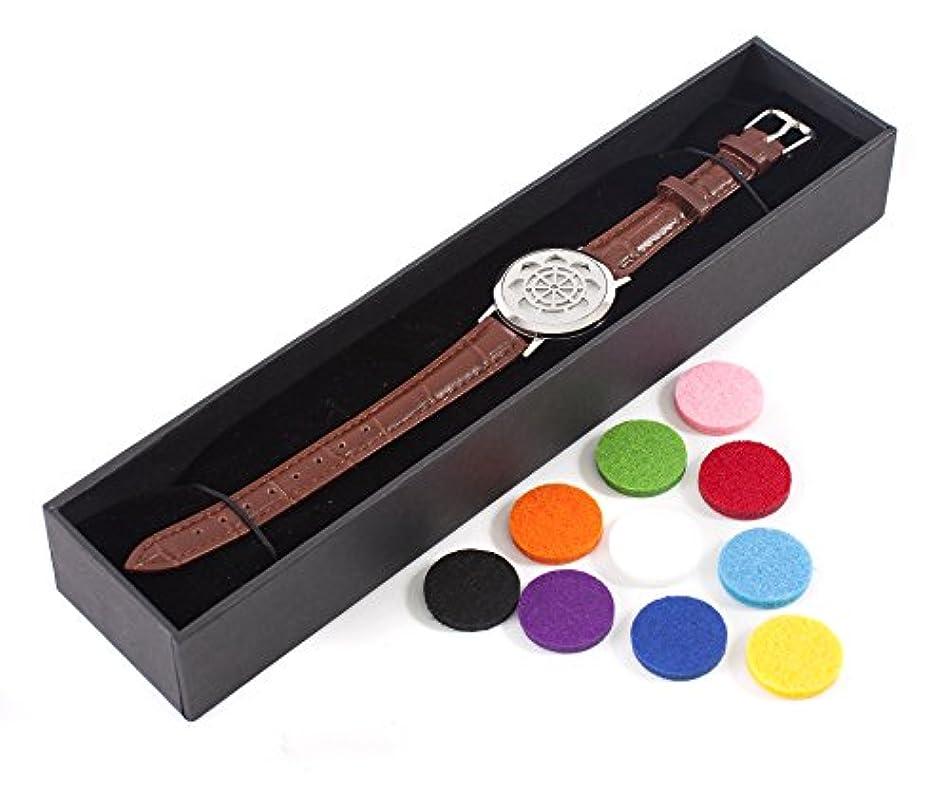 リード和神経衰弱Mystic Moments | Dharma Wheel | Aromatherapy Oil Diffuser Bracelet with Adjustable Brown Leather Strap