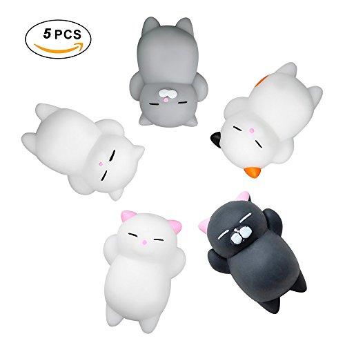 Vixker スクイーズ 低反発 ストレス解消グッズ 猫のおもちゃ squishy オモチ 握ってストレス発散 動物 サンプル ジョークギフト 5個セット