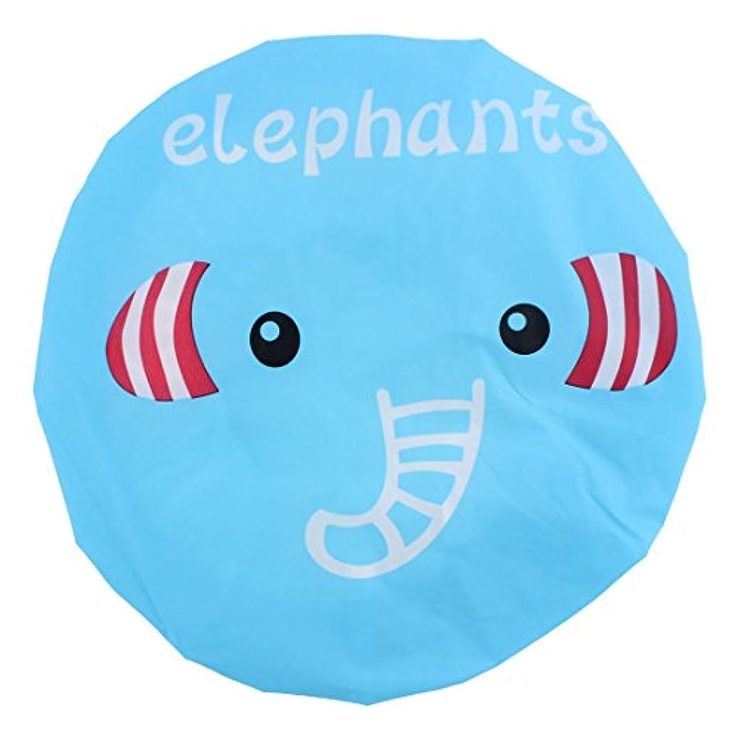 消化エイリアスジレンマuxcell シャワーキャップ シャワー帽子 ポリエステル 象のパターン 防水型 弾性バン 耐性 かわいい 浴室スパ用