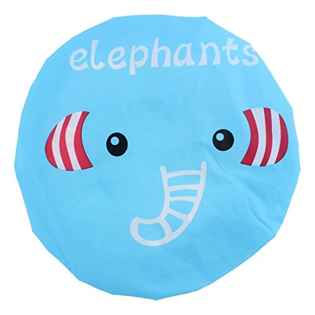 汚す口頭飽和するuxcell シャワーキャップ シャワー帽子 ポリエステル 象のパターン 防水型 弾性バン 耐性 かわいい 浴室スパ用